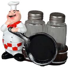 Stojalo za sol in poper kuhar s ponvijo 12x7x11cm sort