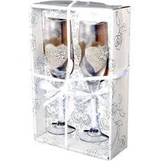 {[sl]:Kozarca za šampanjec poročna s srcema in perlicami v darilni škatli 5x22,