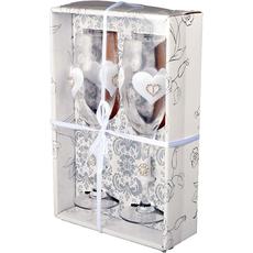 Kozarca za šampanjec poročna s srci v darilni škatli 5x22,5cm 2 /1