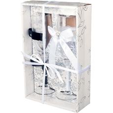 {[sl]:Kozarca za šampanjec v poročnih oblačilih z gumbi v darilni škatli 5x22,5c