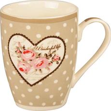 Lonček s cvetjem in pikami siv/roza porcelan 8,2x10.6cm sort