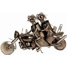Kovinsko stojalo za buteljko, zaljubljenca na motorju, 38x63cm