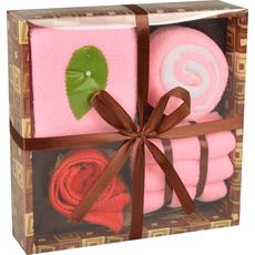 Slaščice iz brisač (2kom 30x30cm,2kom 20x20xcm,1kom 25x25cm) roza, bela 18,2x18,2x5,2cm set 5/1