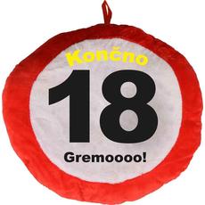Vzglavnik dekorativen rdeč Končno 18 - Gremoooo!, 100% poliester