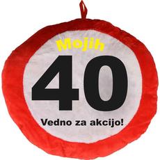 Vzglavnik dekorativen rdeč Mojih 40 - Vedno za akcijo!, 100% poliester
