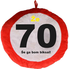 Vzglavnik dekorativen rdeč Že 70 - Še ga bom biksal!, 100% poliester