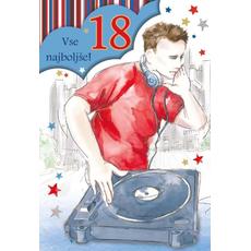 """Voščilnica 18 za fante, Vse najboljše! """"DJ"""""""