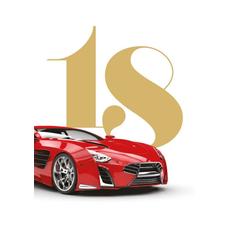 Voščilo, čestitka za rojstni dan, 18, rdeč avto