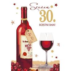 {[sl]:Voščilnica 30 steklenica s kozarcem, Srečen 30. rojs