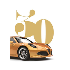 Voščilo, čestitka za rojstni dan, 30, oranžen avto