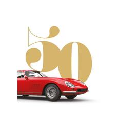 Voščilo, čestitka za rojstni dan, 50, rdeč avto