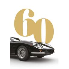 Voščilo, čestitka za rojstni dan, 60, črn avto