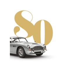 Voščilo, čestitka za rojstni dan, 80, srebrn avto