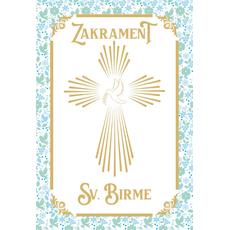 {[sl]:Voščilo, čestitka za birmo, Zakrament Sv. Birme, zlatotisk modra 16.5x24.