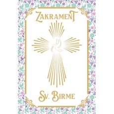 {[sl]:Voščilo, čestitka za birmo, Zakrament Sv. Birme, zlatotisk roza 16.5x24.5c