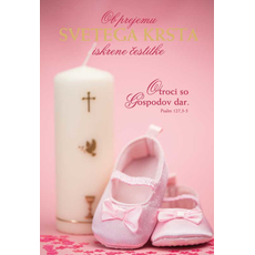 {[sl]:Voščilo, čestitka za krst, Ob prejemu svetega krsta, zlatotisk roza 16