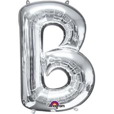 """Balon napihljiv, za helij, srebrn, črka """"B"""", 86cm"""