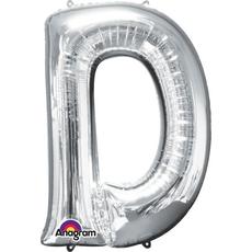 """Balon napihljiv, za helij, srebrn, črka """"D"""", 83cm"""