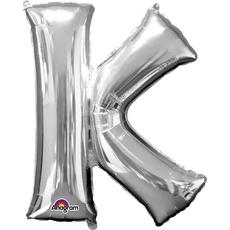 """Balon napihljiv, za helij, srebrn, črka """"K"""", 83cm"""