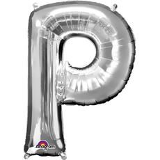 """Balon napihljiv, za helij, srebrn, črka """"P"""", 81cm"""