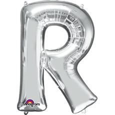"""Balon napihljiv, za helij, srebrn, črka """"R"""", 81cm"""