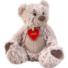"""Medved sedeč s srčkom """"Love"""" siv, pliš, 22cm"""