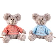 Miš sedeča v roza/modrem puloverju pliš, 32cm sort