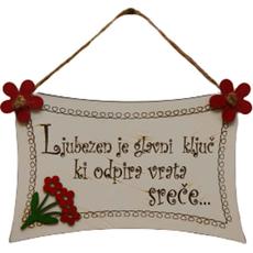 Obešanka iz lesa Ljubezen je glavni ključ ki odpira vrata sreče, 18x12cm