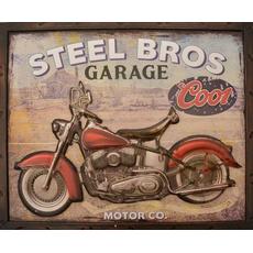 Slika kovinska  motor Steel Bros garage 44x54x3cm