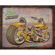 Slika kovinska  rumen motor Fast Motorcycle  44x54x3cm