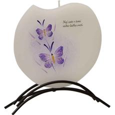 {[sl]:Sveča dišeča na stojalu, viola metulja - Naj zate v temi vedn