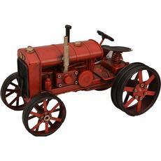 Ura namizna traktor rdeč, kovina 27x15.5x16cm