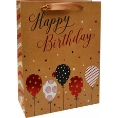 Darilna vrečka Happy Birthday baloni zlata bleščice, 30x42x12cm