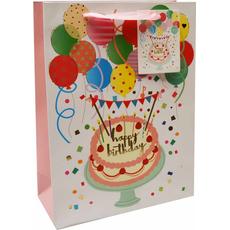 Darilna vrečka Happy Birthday baloni zlatotisk, 18x24x8cm