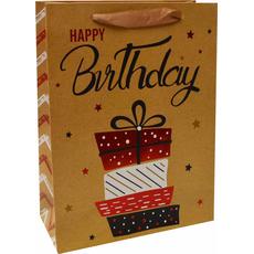 Darilna vrečka Happy Birthday darila zlata bleščice, 18x24x8cm