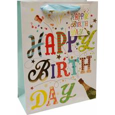 Darilna vrečka Happy Birthday šampanjec zlatotisk, 18x24x8cm