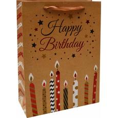 Darilna vrečka Happy Birthday sveče zlata bleščice, 18x24x8cm