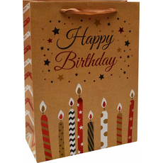 Darilna vrečka Happy Birthday sveče zlata bleščice, 26x32x10cm