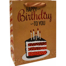 Darilna vrečka Happy Birthday to you zlata bleščice, 18x24x8cm