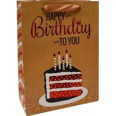 Darilna vrečka Happy Birthday to you zlata bleščice, 30x42x12cm