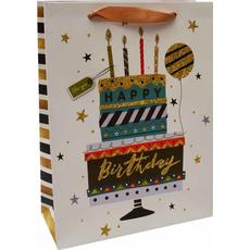 Darilna vrečka Happy Birthday torta zlate bleščice, 26x32x10cm