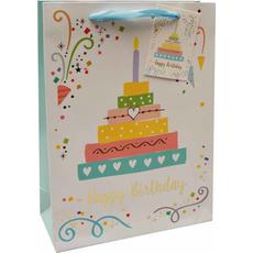 Darilna vrečka Happy Birthday torta zlatotisk, 18x24x8cm