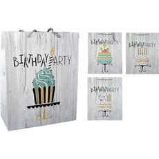 "Darilna vrečka ""Happy Birthday"" z bleščicami torta mala 18x23x10cm"