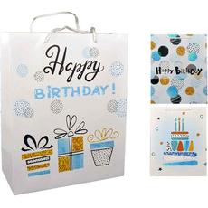 """Darilna vrečka """"Happy Birthday"""" z bleščicami velika 31x42x12cm"""