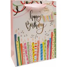 Darilna vrečka Happy Birthday zlatotisk, 18x24x8cm