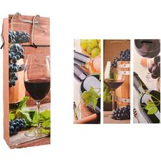 Darilna vrečka za steklenice z grozdjem 12x36x9cm sort