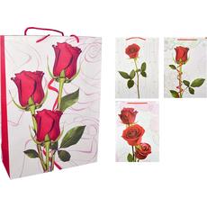 Darilna vrečka rdeče vrtnice z bleščicami velika 31x42x12cm