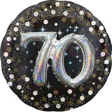 """Balon napihljiv, za helij, 3D Efekt, """"70"""", belo/zlate pikice, 81cm"""