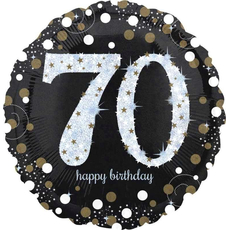 "Balon napihljiv, za helij, Happy Birthday, ""70"", belo/zlate pikice, 45cm"