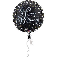 Balon napihljiv, za helij, Happy Birthday, belo/zlate pikice, 45cm